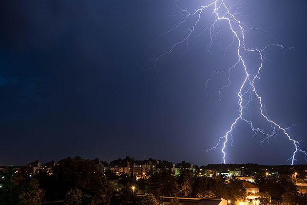 Lightning, Storm, City, Urban Scene, Heat Lightning