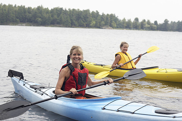 Mother and Daughter Kayaking